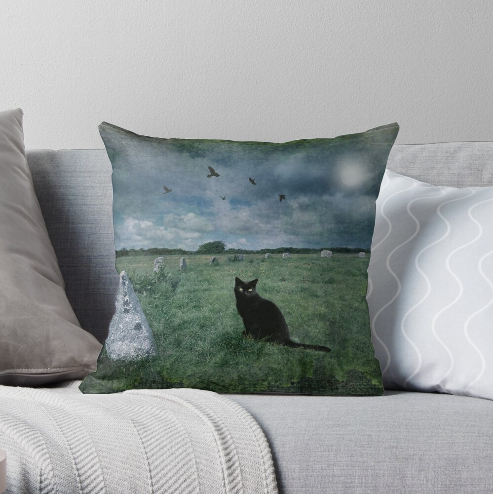 Cornish Black Cat Throw Pillow