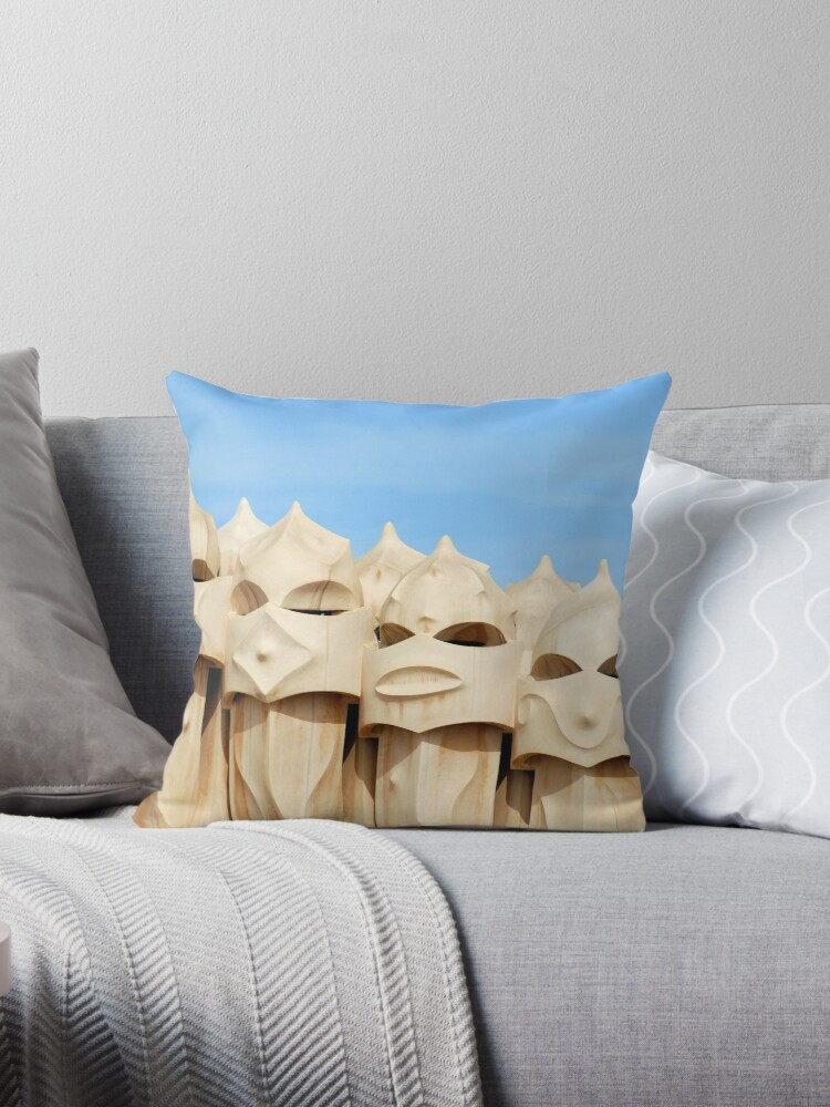 Chimneys On Terrace Roof Of Casa Mila La Pedrera Barcelona Throw Pillow By Petr Svarc