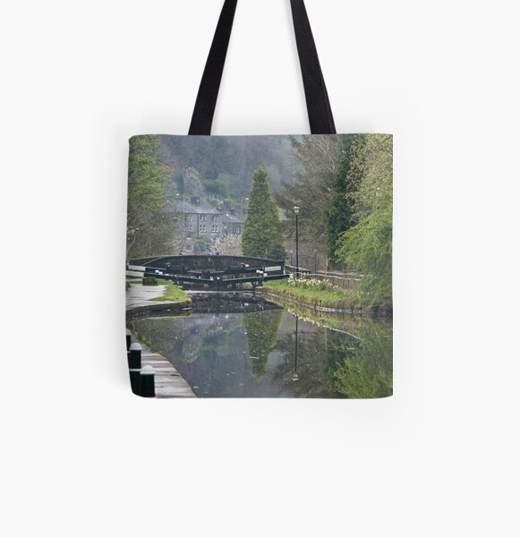 Canalside Reflections All Over Print Tote Bag