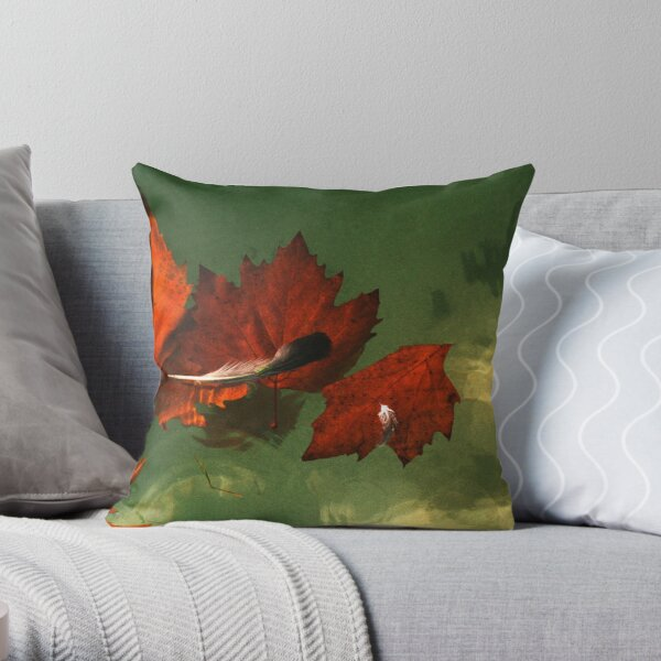 five red leaves Throw Pillow