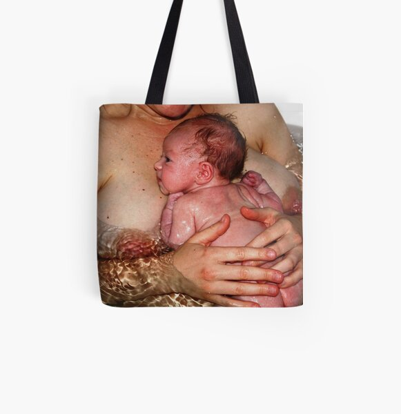 Infant and mother in bath All Over Print Tote Bag