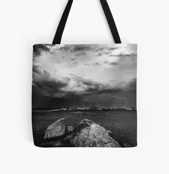 Lightning at the Rocks All Over Print Tote Bag