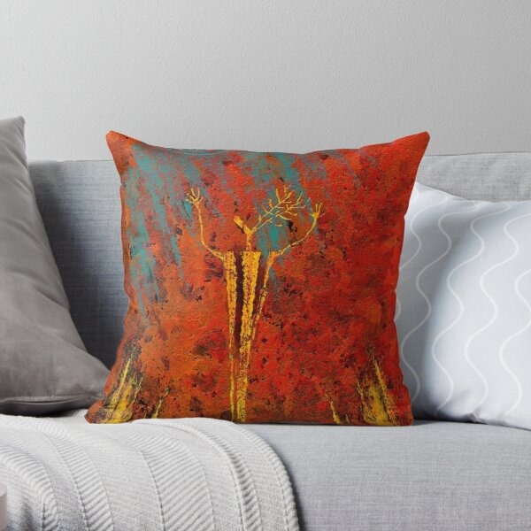 Deer Fire Throw Pillow