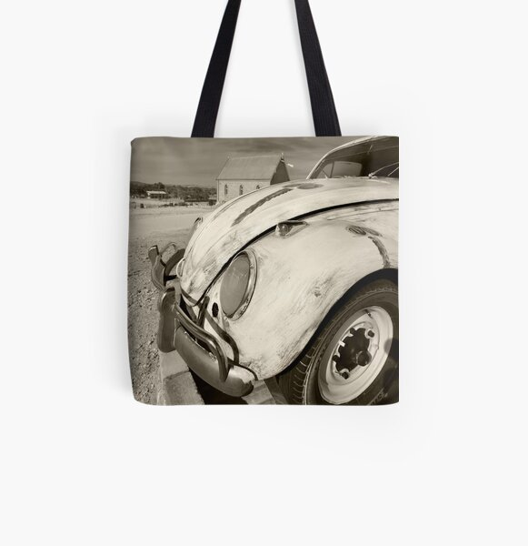 Car and Church All Over Print Tote Bag