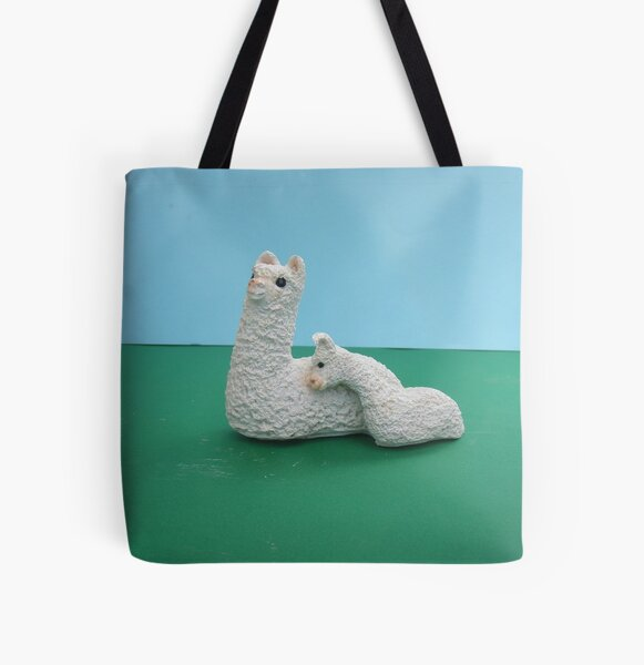 White Mum and baby Alpaca All Over Print Tote Bag
