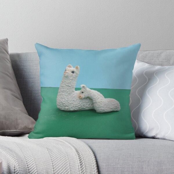 White Mum and baby Alpaca Throw Pillow