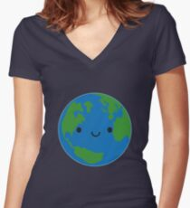 Planet Earth Women's Fitted V-Neck T-Shirt