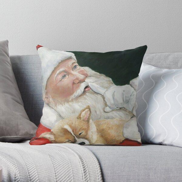 Pembroke Welsh Corgi and Santa Claus Throw Pillow