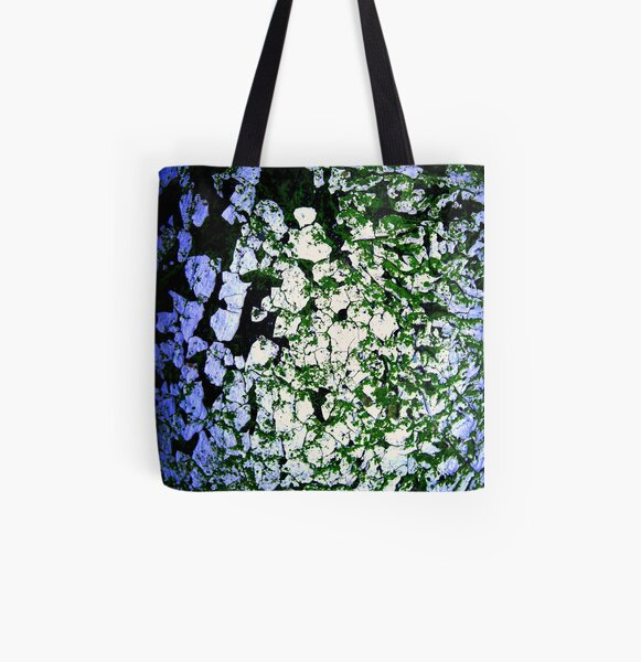 Moss-Tainted White with Blue Light All Over Print Tote Bag