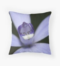 Penguins on the ice slopes of a blue planet Throw Pillow