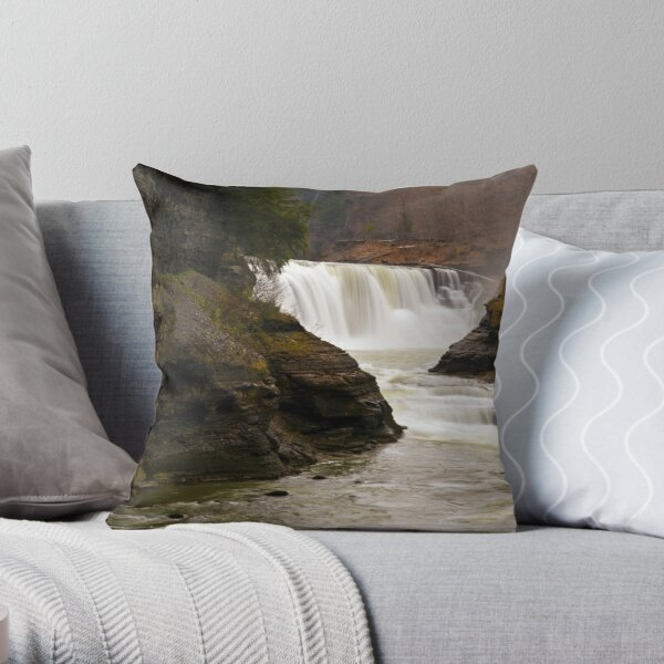 Lower Waterfalls-Letchworth State Park Throw Pillow