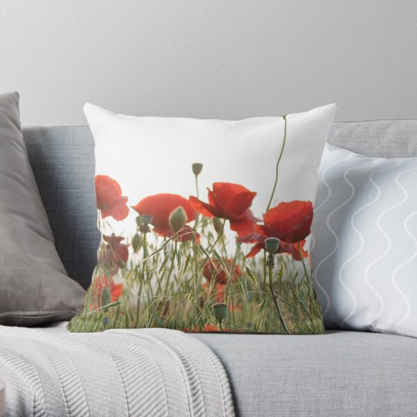 Poppies from a Virginia roadside Throw Pillow