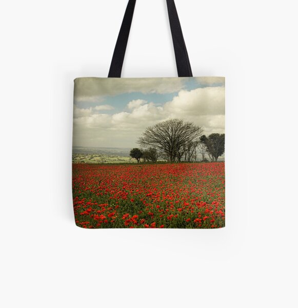 October Poppies All Over Print Tote Bag