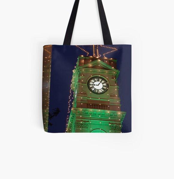 Green Christmas lights on Prahran Town Hall All Over Print Tote Bag