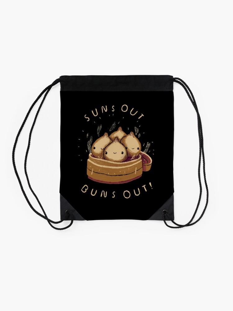 Alternate view of suns out buns out! Drawstring Bag