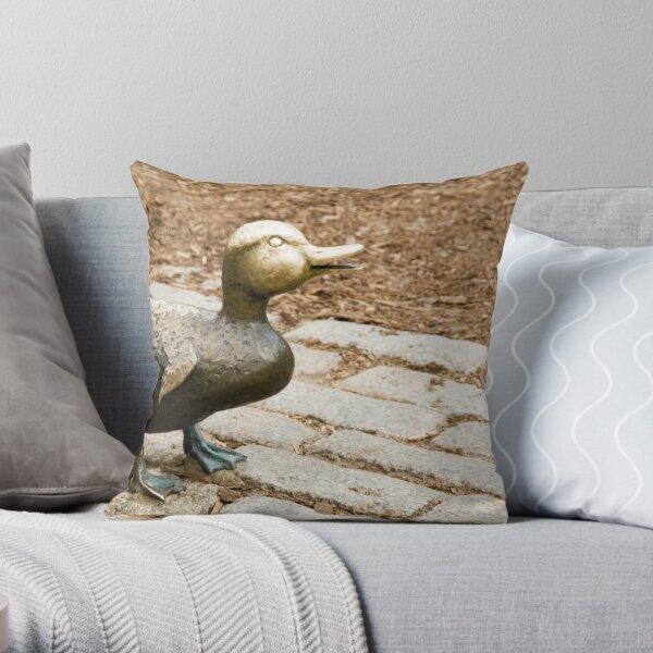 Little Bronze Duck Throw Pillow