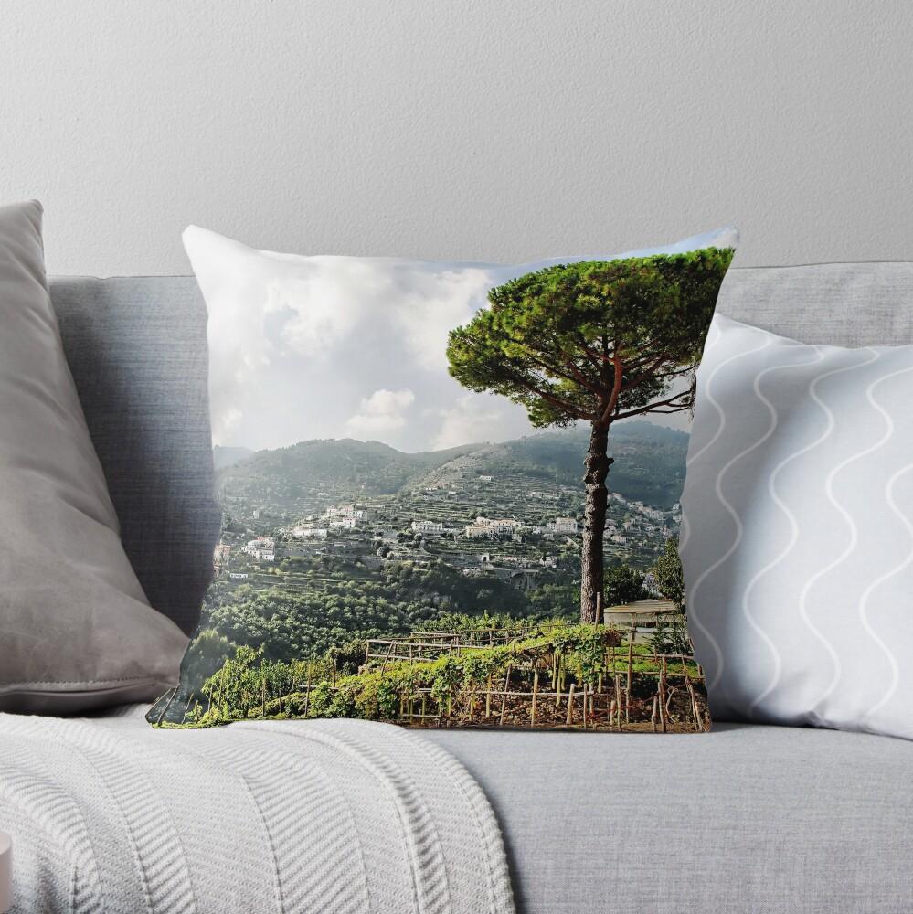 Vineyard in Ravello Throw Pillow
