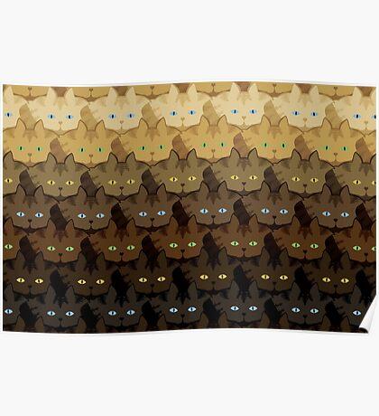 Brown Tabby Horizontal Stripe Cattern [Cat Pattern] Poster