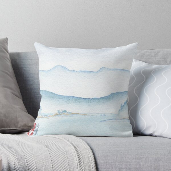 View From The Ferry Watercolor Throw Pillow
