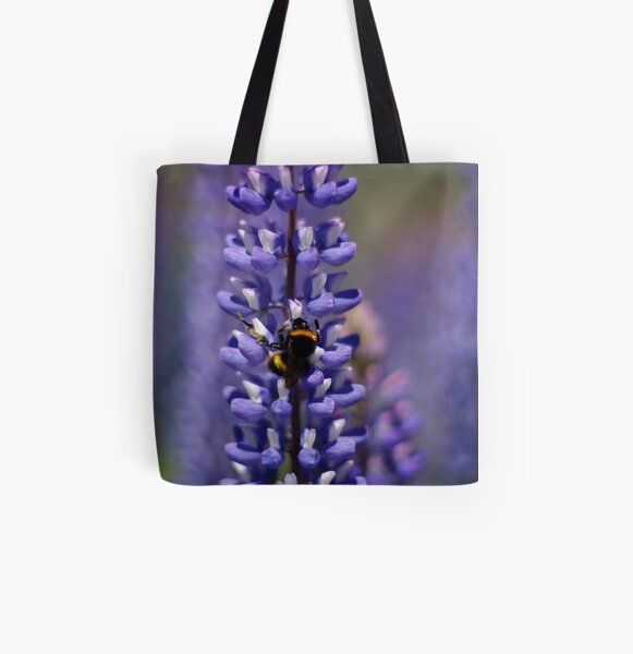 Busy bee lupin landing All Over Print Tote Bag