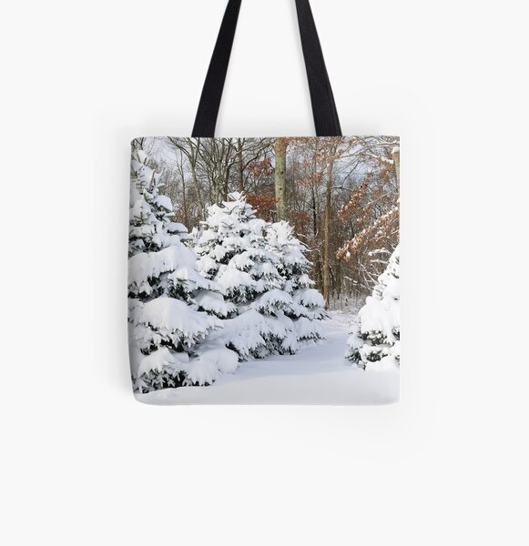 Snowy Pines All Over Print Tote Bag