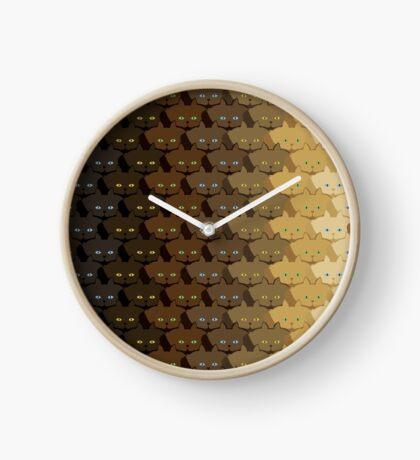 Brown Vertical Stripe Cattern [Cat Pattern] Clock