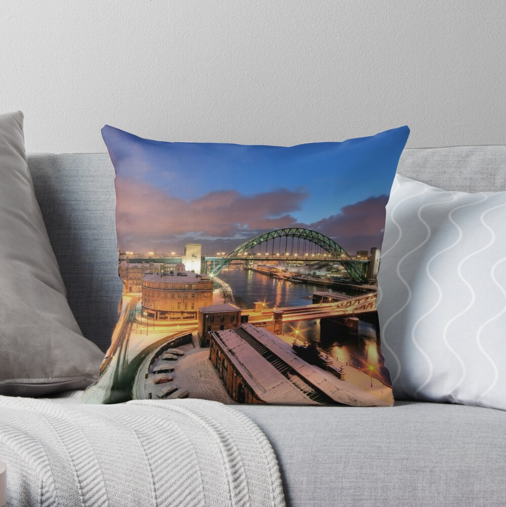 Newcastle in winter Throw Pillow