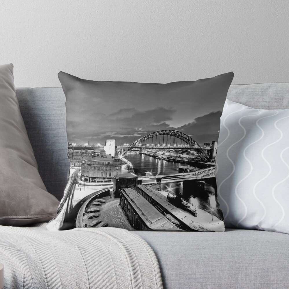 Newcastle Quayside - a winters morn Throw Pillow