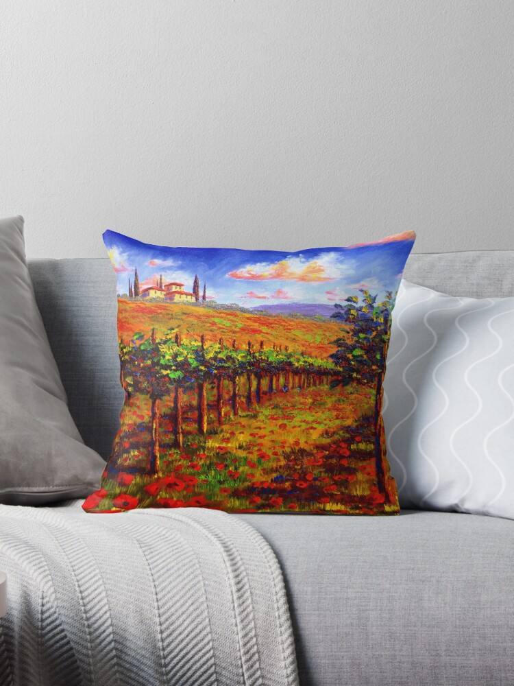 Tuscany Vineyard Poppies Throw Pillow By Sesillie Redbubble