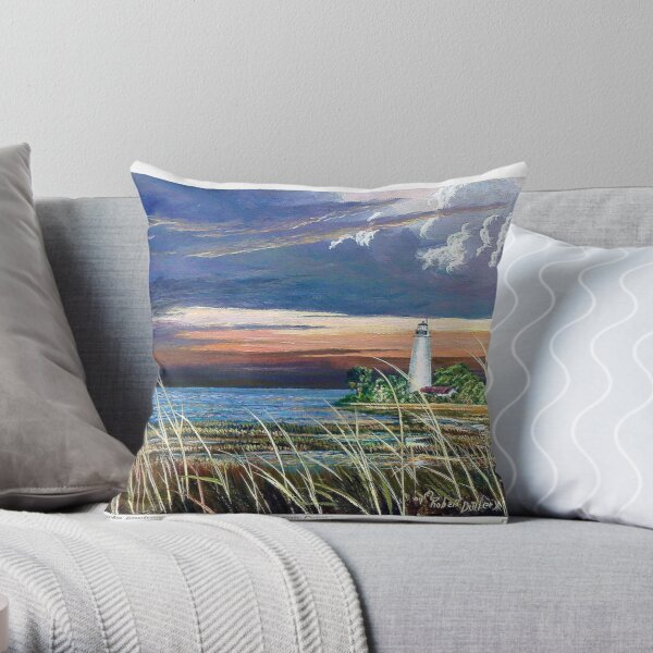 Scenic Point - St. Marks Light Throw Pillow