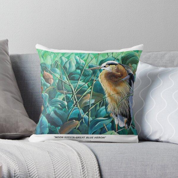 """Noon Siesta-Great Blue Heron"" Throw Pillow"