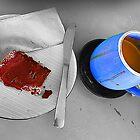 Reife Scheibe der Kaffee- und Schokoladenkirsche am Café von TeAnne