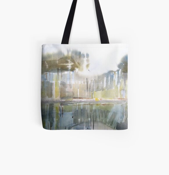 Trees in water All Over Print Tote Bag