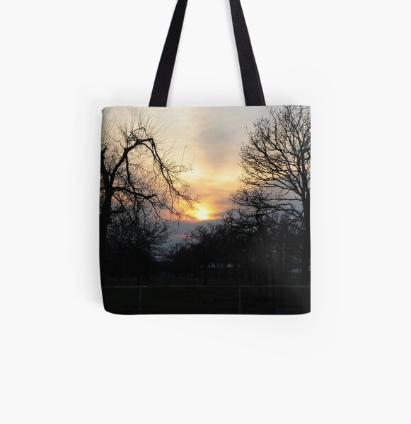Trees At Sunset All Over Print Tote Bag