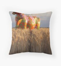 Painted Cow in the Wheat Throw Pillow