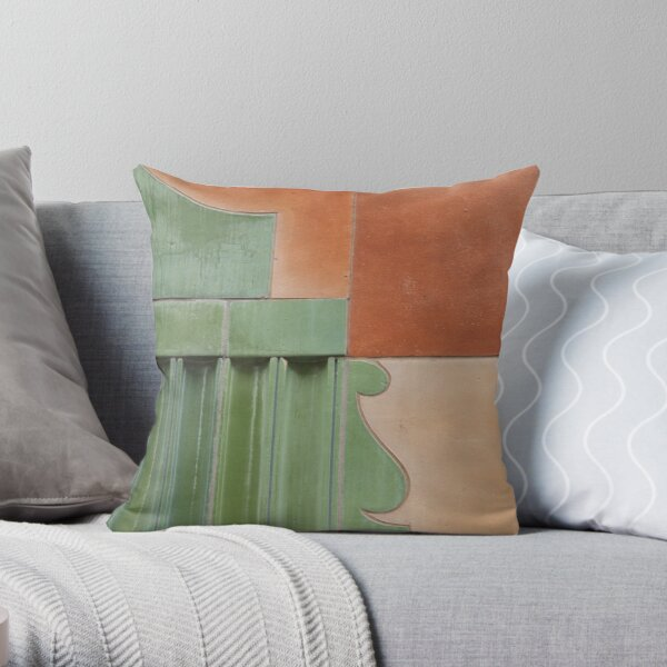 Green Terracotta Curves Throw Pillow