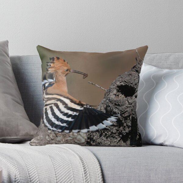 Happy Hoopoe Throw Pillow