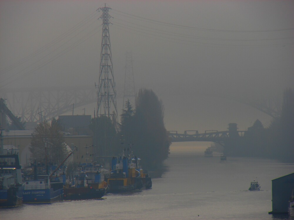 Ship Canal Draped in Fog by Honario