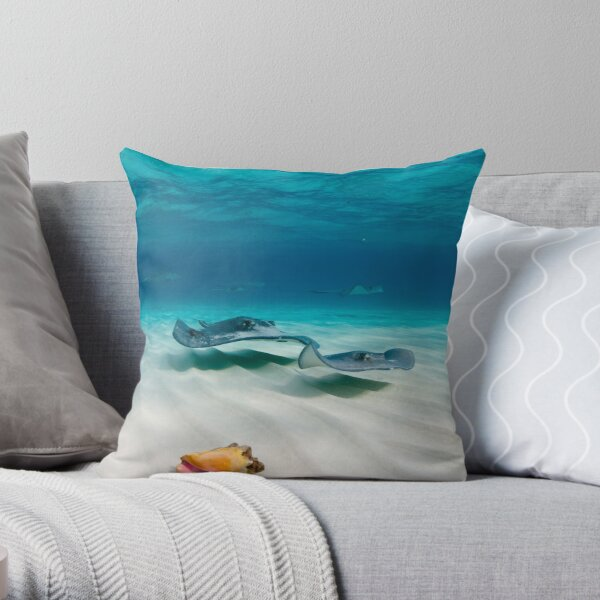 Two stingrays & a shell went into a sandbar... Throw Pillow