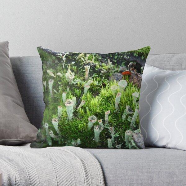 among the moss Throw Pillow