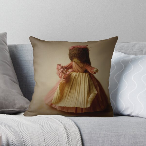 Corn husk lady Throw Pillow