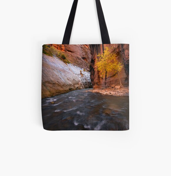 Zion Narrows Fall Color All Over Print Tote Bag