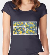Yellow poppies collage Women's Fitted Scoop T-Shirt