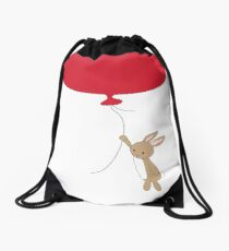 Cute rabbit floating away  Drawstring Bag