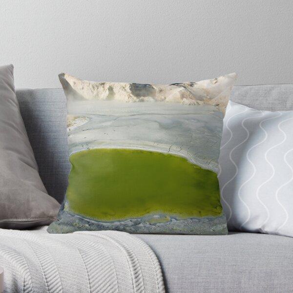"Green Pool in ""Bumpass Hell"" Throw Pillow"