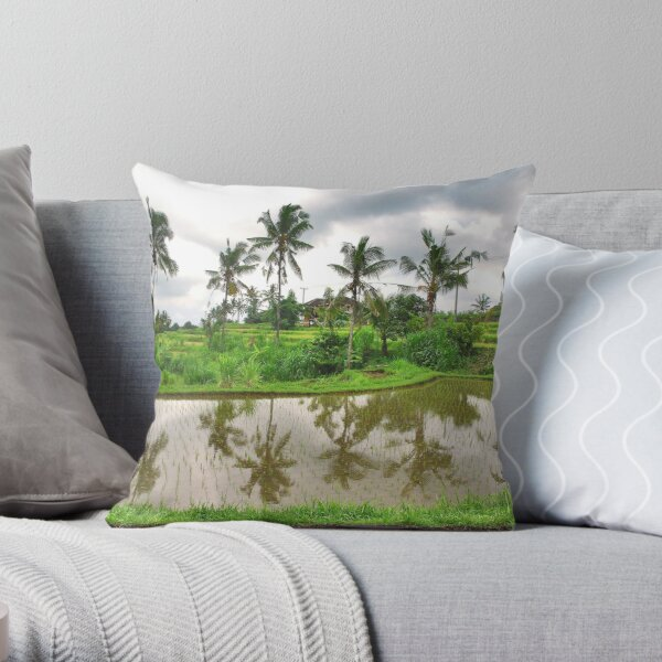 Reflections in the ricefield Throw Pillow