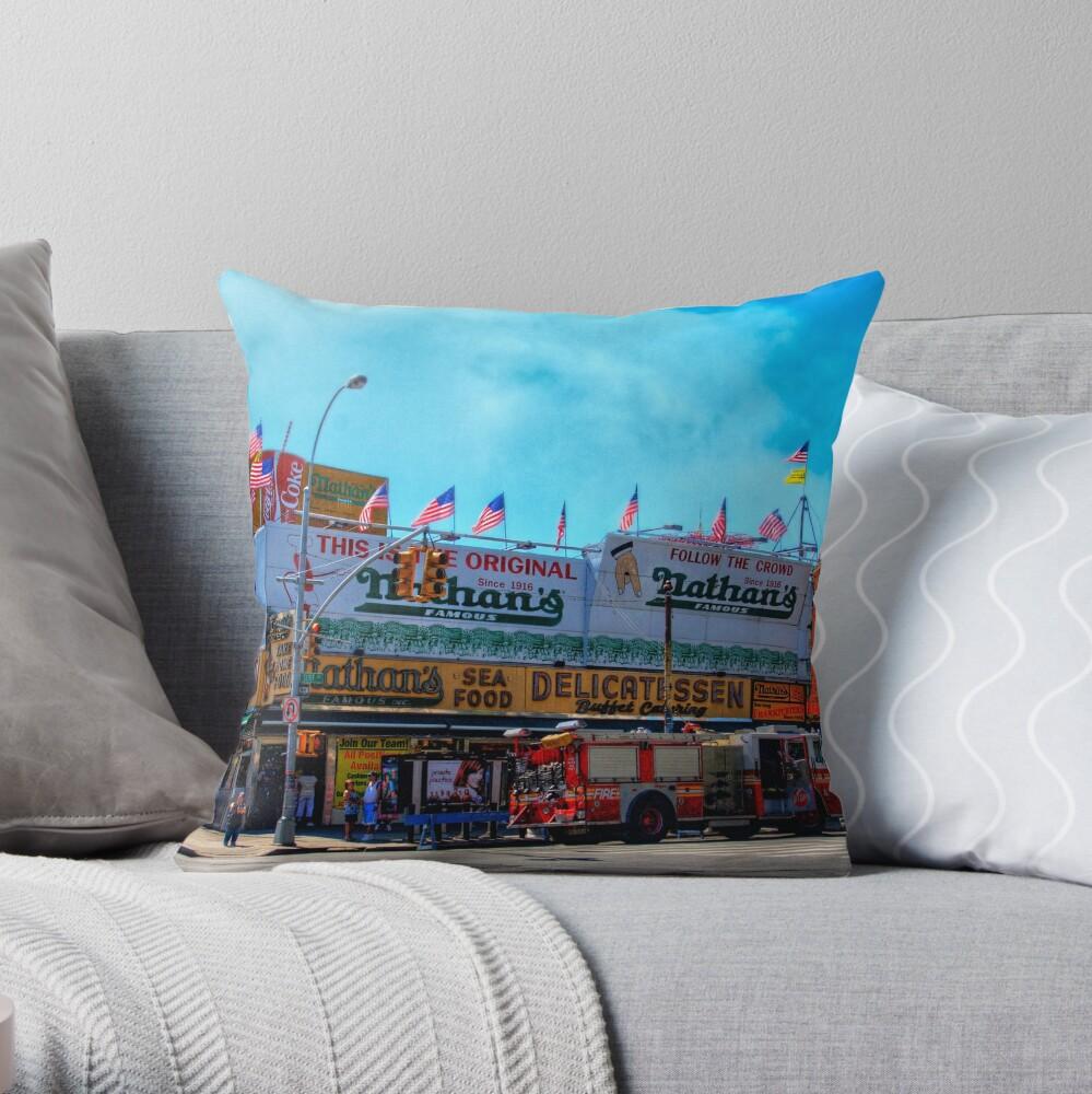 Nathan's Famous Frankfurters, Original Headquarters, Coney Island, Brooklyn, USA Throw Pillow