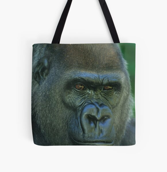 Western Lowland Gorilla Up Close All Over Print Tote Bag