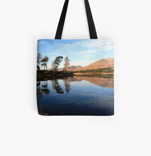 Loch Tulla  Reflection All Over Print Tote Bag