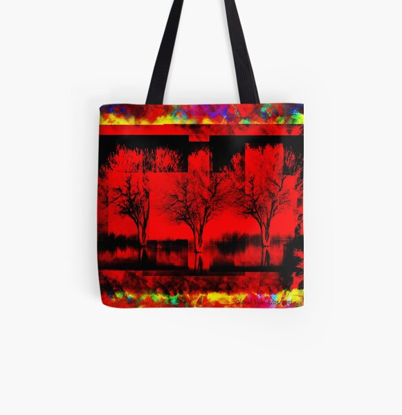 Flaming Tree in Hell - Red All Over Print Tote Bag